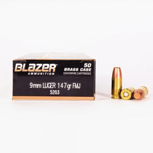 9mm Luger 147gr FMJ Blazer Brass 5203 Ammo Box Side with Rounds