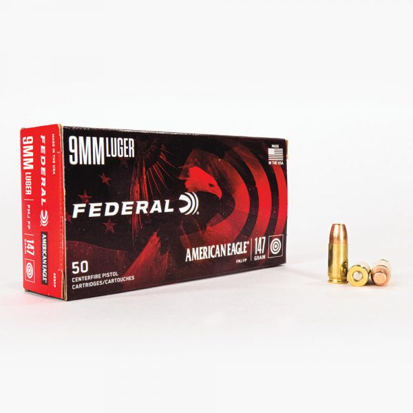 9mm Luger 147gr FMJ Federal American Eagle AE9FP Ammo Box Front with Rounds