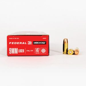 9mm Luger 147gr FMJ Federal American Eagle AE9FP Ammo Box Side with Rounds