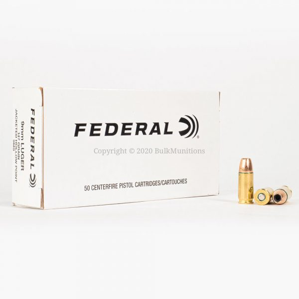 9mm Luger 147gr JHP Federal White Box 9MS Ammo Box Front with Rounds