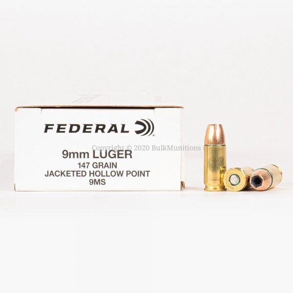 9mm Luger 147gr JHP Federal White Box 9MS Ammo Box Side with Rounds