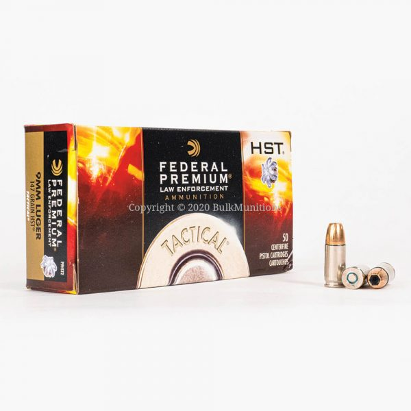 9mm Luger 147gr JHP HST Federal Law Enforcement P9HST2 Ammo Box Front with Rounds
