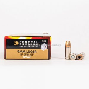 9mm Luger 147gr JHP HST Federal Law Enforcement P9HST2 Ammo Box Side with Rounds