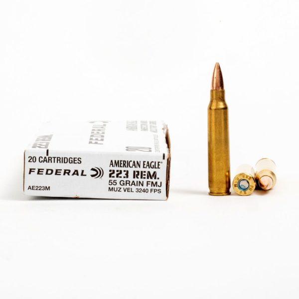 Federal AE223M 223 Remington 55 Grain FMJ Ammo Box Side