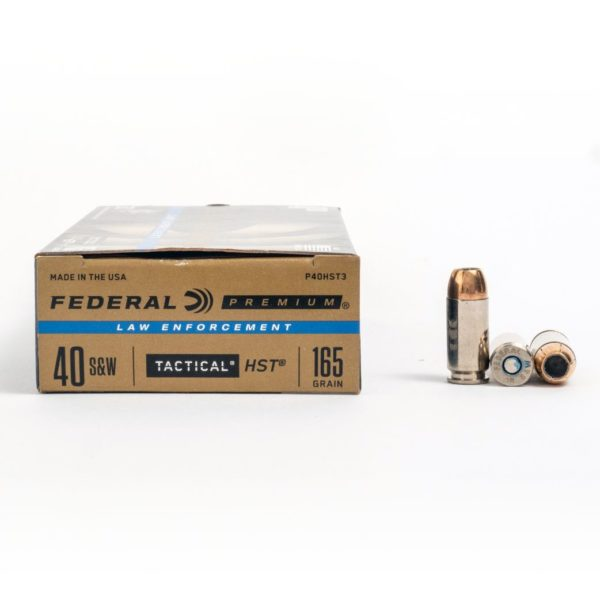 Federal P40HST3 40 Smith & Wesson 165 Grain HST JHP Ammo Box Side