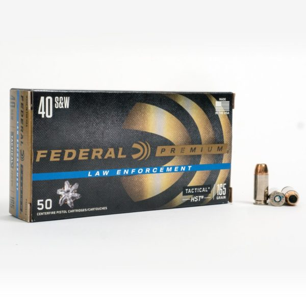 Federal P40HST3 40 Smith & Wesson 165 Grain HST JHP Box Front