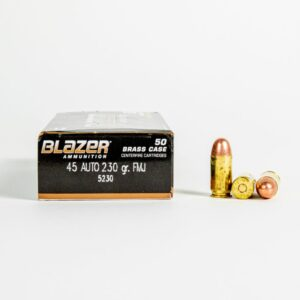 CCI Blazer Brass 5230 45 ACP 230 Grain FMJ Ammo Box Side