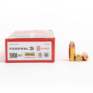Federal WM5199 9mm Luger 115 Grain FMJ Ammo Box Side