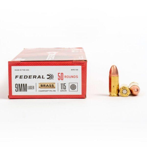 Federal WM5199 9mm Luger 115 Grain FMJ Ammo Box Side