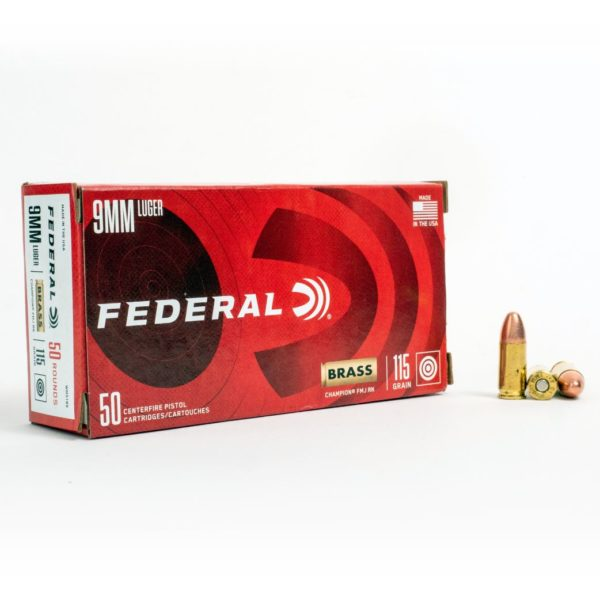 Federal WM5199 9mm Luger 115 Grain FMJ Box Front
