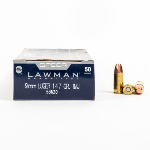 Speer 53620 9mm Luger 147 Grain TMJ Ammo Box Side
