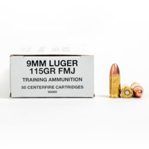 CCI 95000 9mm Luger 115 Grain FMJ Ammo Box Side