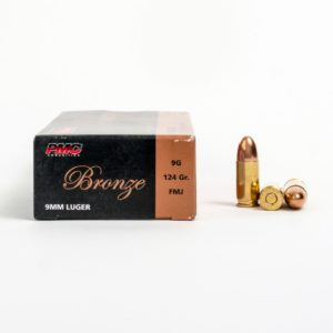 PMC 9G 9mm Luger 124 Grain FMJ Ammo Box Side