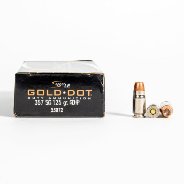 Speer Gold Dot 53972 357 SIG 125 Grain JHP GD Ammo Box Side