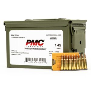 PMC Bronze 223A MB 223 Remington 55 Grain FMJ ammo can w clips and box